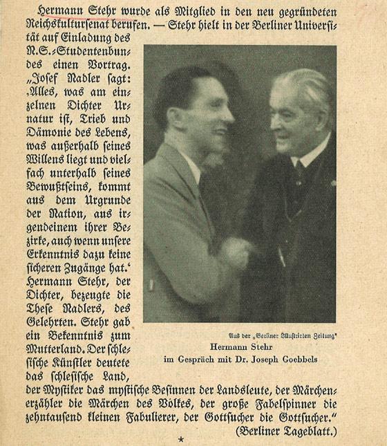 Stehr e Goebbels nel 1935